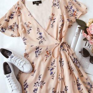 Blush Pink Floral Print Wrap Dress